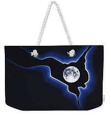 Weekender Tote Bag featuring the painting Full Moon Silver Lining by Janice Dunbar