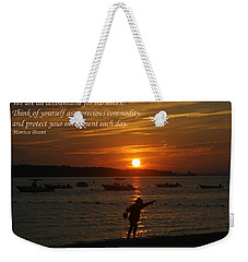 Fun At Sunset/ Inspirational Weekender Tote Bag by Karen Silvestri