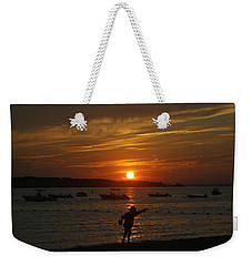 Fun At Sunset Weekender Tote Bag by Karen Silvestri