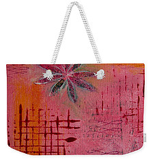 Weekender Tote Bag featuring the painting Fun Flowers In Pink And Orange 1 by Jocelyn Friis