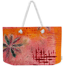 Weekender Tote Bag featuring the painting Fun Flowers In Pink And Orange 2 by Jocelyn Friis