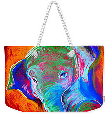 Funky Baby Elephant Blue Weekender Tote Bag