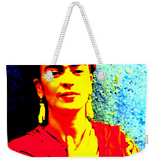 Weekender Tote Bag featuring the mixed media Funky Frida IIi by Michelle Dallocchio