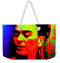 Weekender Tote Bag featuring the mixed media Funky Frida by Michelle Dallocchio