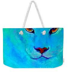 Funky Snow Leopard Turquoise Weekender Tote Bag