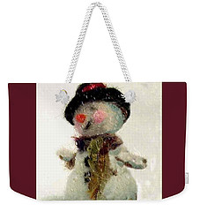 Weekender Tote Bag featuring the photograph Fuzzy The Snowman by Mary Wolf