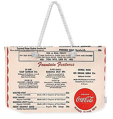 Fw Woolworth Lunch Counter Menu Weekender Tote Bag