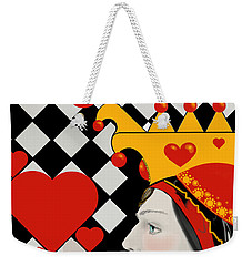 Weekender Tote Bag featuring the painting Gabby Queen Of Hearts by Carol Jacobs