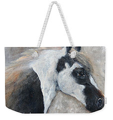 Weekender Tote Bag featuring the painting Gabriel - The Angel Is In His Face by Barbie Batson