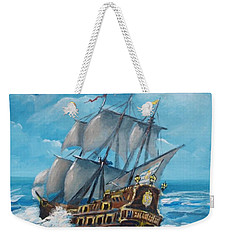Galleon At Night Weekender Tote Bag