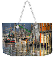 Weekender Tote Bag featuring the photograph Galveston Shrimp Boats by Savannah Gibbs