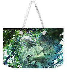Weekender Tote Bag featuring the digital art Garden Angel - Divine Messenger by Absinthe Art By Michelle LeAnn Scott