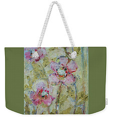 Weekender Tote Bag featuring the painting Garden Bliss by Mary Wolf