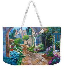 Garden Courtyard Weekender Tote Bag by Jenny Lee