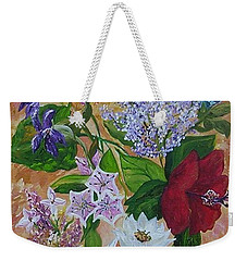 Weekender Tote Bag featuring the painting Garden Delight by Eloise Schneider