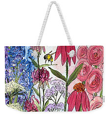 Garden Flower And Bees Weekender Tote Bag