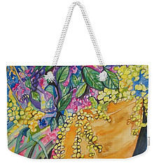 Garden Flowers In A Pot Weekender Tote Bag by Esther Newman-Cohen