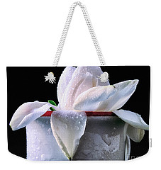 Weekender Tote Bag featuring the photograph Gardenia In Coffee Cup by Silvia Ganora