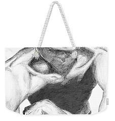 Weekender Tote Bag featuring the drawing Garnett 2 by Tamir Barkan