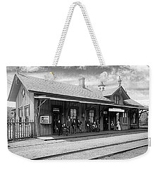 Garrison Train Station In Black And White Weekender Tote Bag
