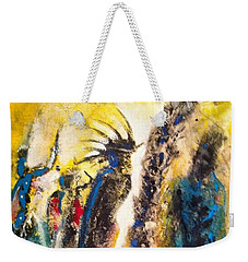 Weekender Tote Bag featuring the painting Gathering 2 by Kicking Bear  Productions