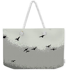 Weekender Tote Bag featuring the photograph Geese In Sillouehette by Nina Silver