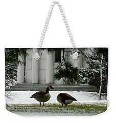 Weekender Tote Bag featuring the photograph Geese In Snow by Kathy Barney
