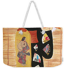 Weekender Tote Bag featuring the painting Geisha by Mini Arora