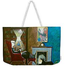 Gentleman Sitting In Wingback Chair Enjoying A Brandy Weekender Tote Bag
