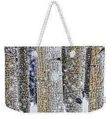 Gently Falling Forest Snow Weekender Tote Bag by Don Schwartz
