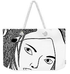 Weekender Tote Bag featuring the drawing Genuine by Jamie Lynn