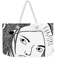 Weekender Tote Bag featuring the drawing Genuine Scars by Jamie Lynn