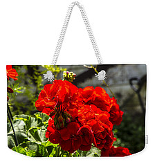 Weekender Tote Bag featuring the photograph Geranium Bloom by Mez