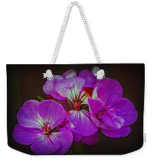 Weekender Tote Bag featuring the photograph Geranium Blossom by Hanny Heim