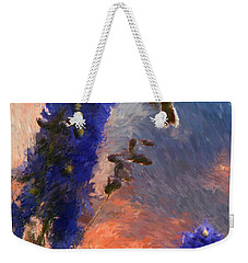 Geraniums Red And Delphiniums Blue Weekender Tote Bag