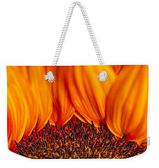 Weekender Tote Bag featuring the photograph Gerbera On Fire by Adam Romanowicz