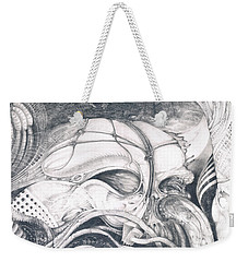 Weekender Tote Bag featuring the drawing Ghost In The Machine by Otto Rapp