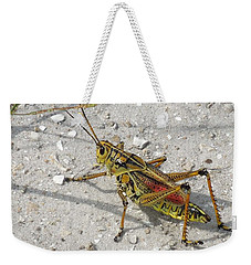 Weekender Tote Bag featuring the photograph Giant Orange Grasshopper by Ron Davidson