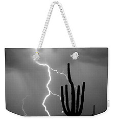 Giant Saguaro Cactus Lightning Strike Bw Weekender Tote Bag