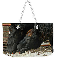 Weekender Tote Bag featuring the photograph Gimme That Apple by Kathy Barney