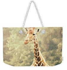 Giraffe In The Rain Weekender Tote Bag by Pati Photography