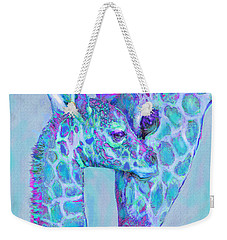 Giraffe Shades  Purple And Aqua Weekender Tote Bag by Jane Schnetlage