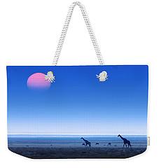 Giraffes On Salt Pans Of Etosha Weekender Tote Bag by Johan Swanepoel