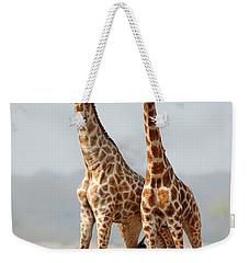 Giraffes Standing Together Weekender Tote Bag by Johan Swanepoel