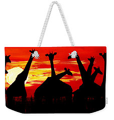 Giraffes Sunset Africa Serengeti Weekender Tote Bag