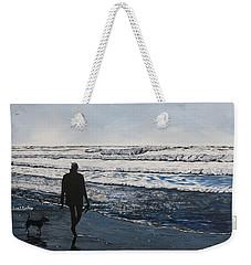 Girl And Dog Walking On The Beach Weekender Tote Bag
