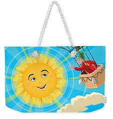 Girl In A Balloon Greeting A Happy Sun Weekender Tote Bag by Martin Davey