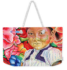 Girl In Flowers Weekender Tote Bag