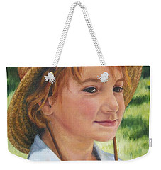 Weekender Tote Bag featuring the painting Girl In Straw Hat by Lori Brackett