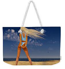 Girl On The Beach... Weekender Tote Bag by Tim Fillingim